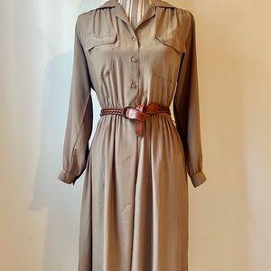 Vintage leather caramel tan midi dress